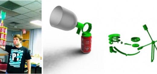 左图为我与滚球塔;中图和右图为我们团队利用 Stratasys Dimension 3D 打印机制造的 3D 打印连接器(绿色)的透视图